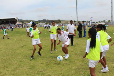 Girls participating a friendly soccer game, where the rules of the game were put into practice.