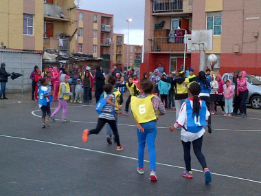Girls showcasing their talent at the netball tournament