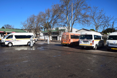 Minister Maynier oversees municipality disinfecting a taxi rank in Grabouw