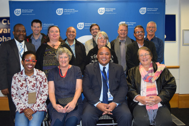 Guy Redman and Mxolisi Dlamuka with HWC and museum representatives at the DCAS Head Office