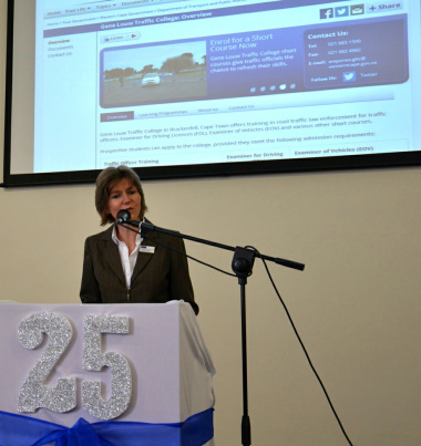 Head of Department Jacqui Gooch officially launched the Gene Louw Traffic College website.