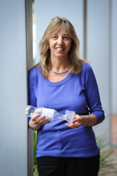Prof. Heather Zar with the homemade asthma spacer.