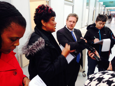 Western Cape Health Minister, Theuns Botha, talking to the media at a briefing to showcase the new Heideveld Emergency Centre. On his left is area manager, Ms Patti Olckers.