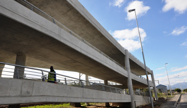 High-mast lights have been installed around the bridge and the station.