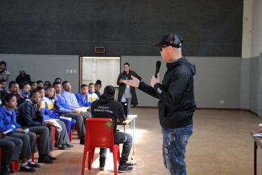 Hilton Langenhoven inspiring learners with a motivational talk