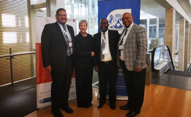 HOD Brent Walters, Minister Anroux Marais, Director Mxolisi Dlamuka and Chief Director Guy Redman at the launch