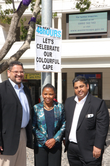 HOD Brent Walters, Minister Mbombo and Naushad Khan from The Next 48hours with the poster