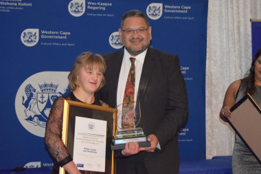 HOD Brent Walters with Mienke Janse van Rensburg, winner of Sportswoman with a Disability