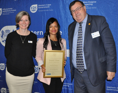 Ms Gooch and Minister Grant with Kimmonne Bothman - ND civil engineering student at CPUT.