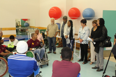 Western Cape Minister of Health, Dr Nomafrench Mbombo addresses members of the Western Cape Wheelchair Rugby team while attending the stroke awareness roundtable hosted at the Western Cape Rehabilitation Centre (WCRC) in the lead up to World Stroke Day, o