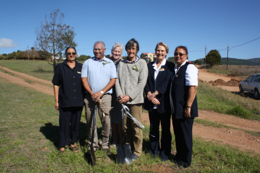 Napier Clinic sod turning ceremony held today. From left to right: Ms Caroline October, Community Health Worker; Mr John October, Community Member; Ms Engela Genis, Cape Agulhas Primary Healthcare Manager; Ms Mathilda Roos, Community Member; Ms Annamarie