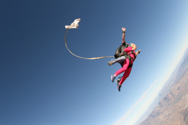 Minister Schafer skydives during the launch of Jump