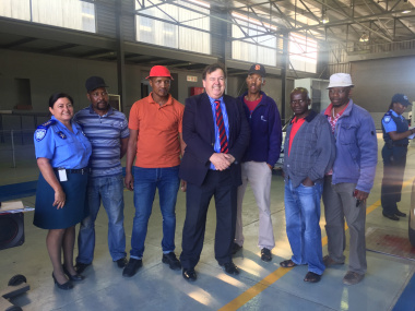Minister Grant with City of Cape Town Chief Traffic Inspector, Merle Lourens, and minibus taxi owners getting their vehicles tested at Joe Gqabi Transport Interchange in Philippi East.