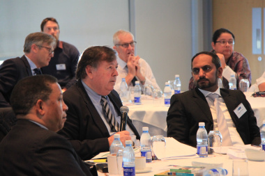 Minister Ivan Meyer and Minister Donald Grant with Zakariya Hoosain at 2018 Fiscal Policy