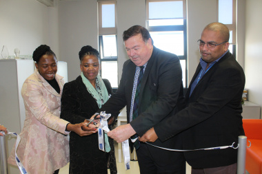 : Thandeka Gqada (Member of Parliament), Dr Nomafrench Mbombo, Minister Donald Grant and Dr Michael Phillips (Head of Khayelitsha Eastern Substructure Office)