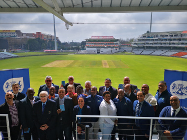 Minister Anroux Marais with key stakeholders at the launch of the isiXhosa Cricket Rulebook at Newslands