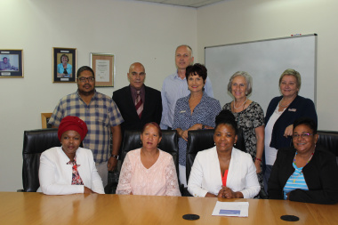 Front left:  Cllr Noluthando Mwati (Oudtshoorn), Cllr Eva Fortuin (Oudtshoorn), Minister Nomafrench Mbombo(Health), Chairperson Cllr Rosina Ruiters (Eden District Municipality) Back left: Cllr Philipus Antonie (Kannaland), Cllr Simon Odendaal (Hessequa),