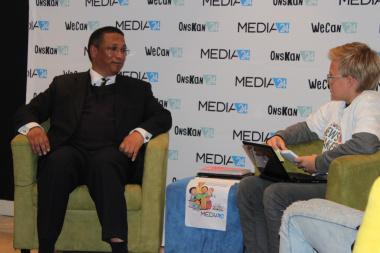 Minister Meyer being interviewed by aspiring journalist, Francois Barnard