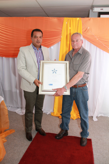 Handing Over Certificate to J Basson