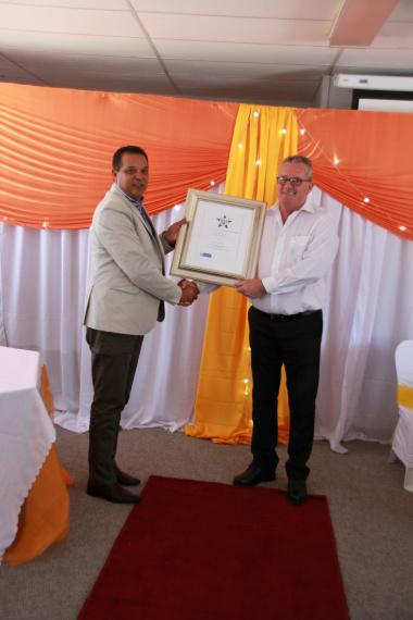 Handing Over Certificate to K Holmes