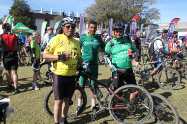 Minister Meyer with his youngest son, William Meyer and spokesperson Daniel Johnson after the 30km challenge