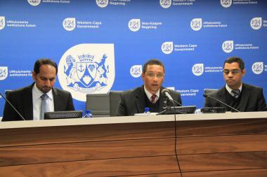 From left: Head of Department Mr Zakariya Hoosain, Minister of Finance Dr Ivan Meyer and Deputy Director General Mr Aziz Hardien