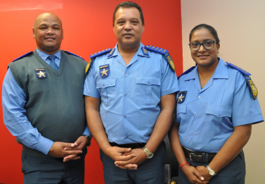 Inspectors Vigie Chetty and Nathan Arendse with Director Farrel Payne