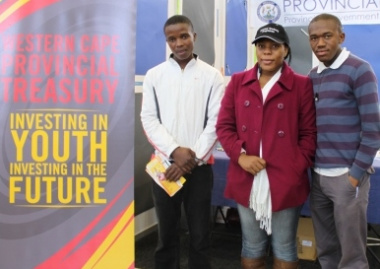 Investing in youth, investing in the future: Sweetness Sixubane, an exhibitor at the expo,(centre) with two of the exhibition's visitors