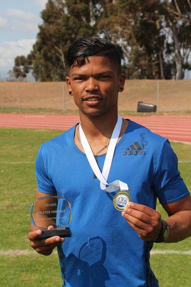 Iveyano Vyfer from the Department of Health who won the 100m Cape Winelands BTG men's sprint