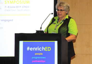 Jacqueline Boulle, chief director at the After School Game Changer office, speaks at the enrichED Symposium on Saturday.