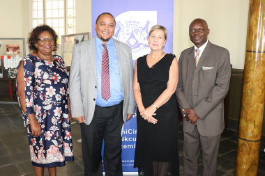 Jane Moleleki and Guy Redman with Minister Marais and UNESCO Secretary-General of SA Commission Carlton Lufuno Mukwevho at the IYIL launch in Cape Town
