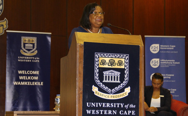 Jane Moleleki, director of arts and culture at DCAS, speaks at Friday's celebration at the University of the Western Cape.