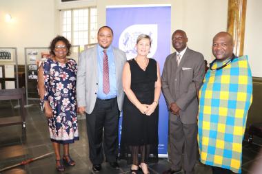 Jane Moleleki, Guy Redman, Minister Anroux Marais, UNESCO Secretary General SA Commission Carlton Lufuno Mukwevho and Nkosikhulule Nyembezi at IYIL launch
