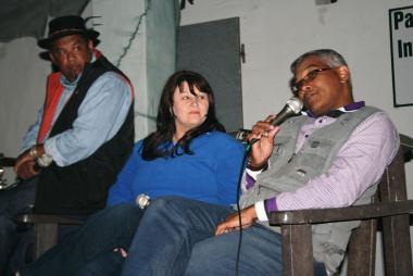 John Cloete,Serena Van Alphen and Elton Lesch on stage.
