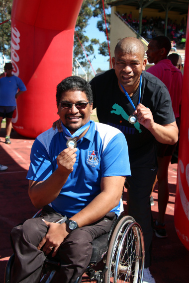 Joyfred Baartman and Jonathan Pietersen from Worcester SAPS finished the race together