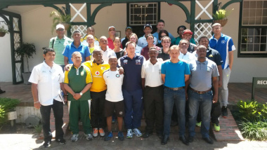 JP Naude (chairman of WECSA) and Phelisile Cengani (DCAS) with the District Academy Coaches