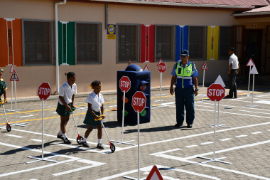 Grade 3 learners at the Simondium Primary School taking part in a road safety education demonstration at the opening of the Junior Traffic Training Centre (JTTC) at the school.