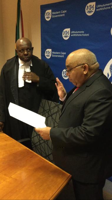 Judge Hlophe swearing in MEC Fritz