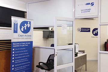 The Kayamandi e-Centre operates from the Kayamandi Library and has a range of services and training available.