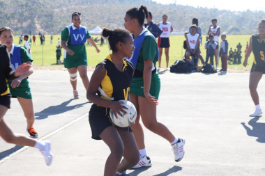 Keen supporters encourage committed netball players to do their best at the RSDP Games in Villiersdorp