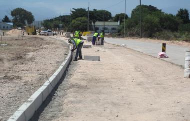 Kerbs being installed at Riverside