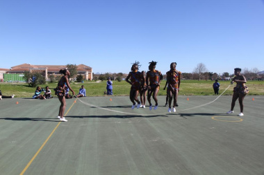 Kgati, an indigenous game, is ropeskipping where two athletes swing the skipping rope and the third jumps in, usually while singing or chanting