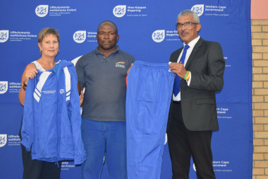 Khaya Rose Rugby Football Club receives equipment from Minister Anroux Marais and Richard Buckley at the Metro Sport Funding Ceremony