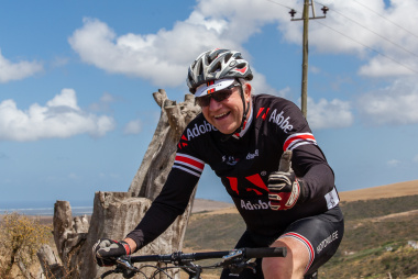Minister Alan Winde rides the new route.