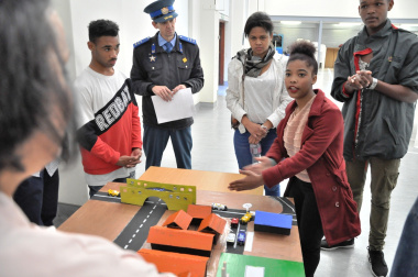 Latiefa Adonis of Batavia Special Skill School explains the road safety solution to adjudicators