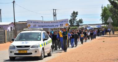 Learners and teachers spread road safety awareness in Koekenaap.