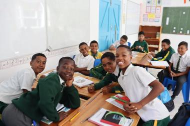 Learners enjoying new classroom facility