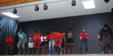 Learners from Bongolethu Primary School performing a traditional Gumboot Dance