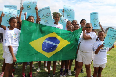 Learners from Devon Valley Primary School representing Brazil during the Olympic Day March Past.