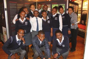 Learners from Hector Peterson High School with teacher Chumisa Myamya